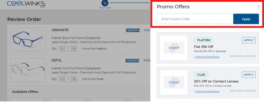 how to use coolwinks promo code
